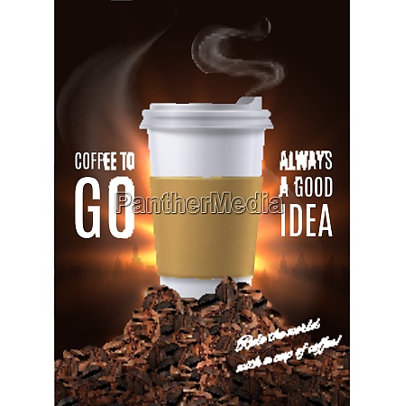 coffee to go advertisement composition with