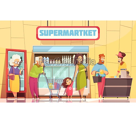 supermarket shoppers queue characters poster with