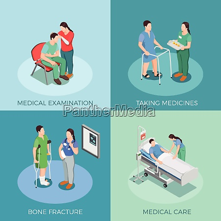 doctor and patient isometric design concept