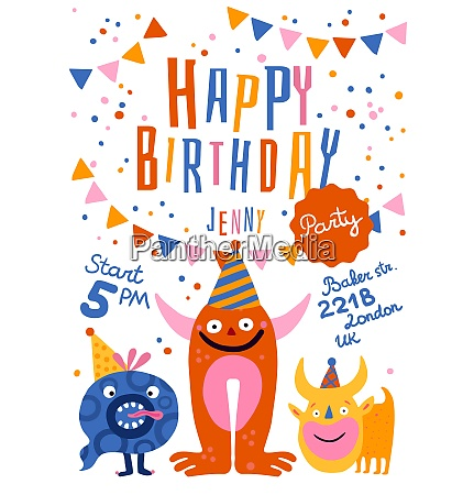 birthday party announcement invitation poster with