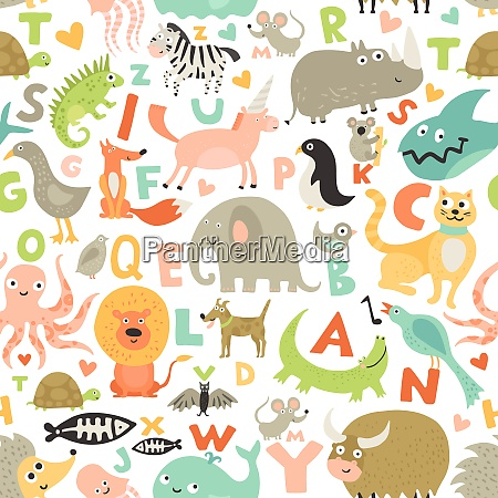 children first abc seamless pattern with