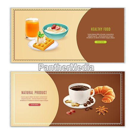 realistic horizontal banners set with various