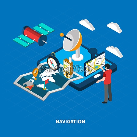 navigation concept with map and search