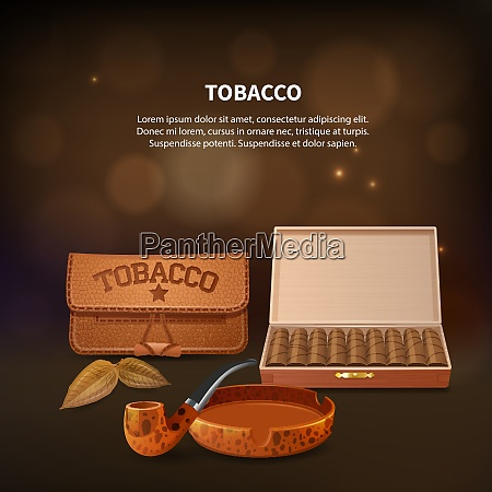 tobacco realistic composition with smoking pipe