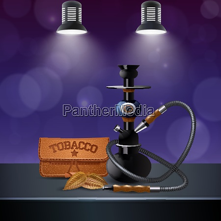 realistic colored tobacco composition with hookah