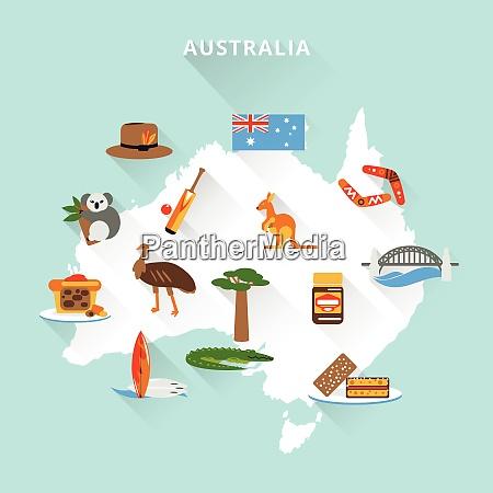 australia tourist map concept with travel