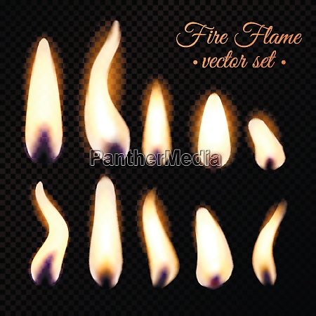 bright fire flames of different realistic