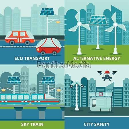smart city 2x2 design concept with