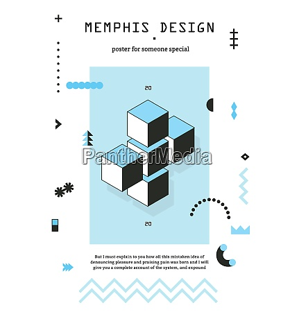 memphis style geometric poster with cubes
