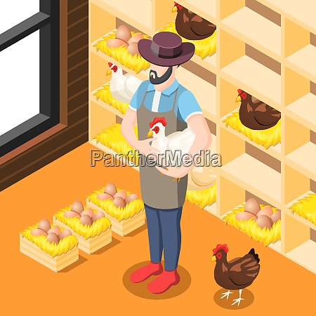 chicken coop isometric background with farmer