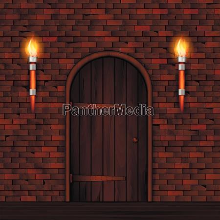 entrance doors facade realistic 3d composition