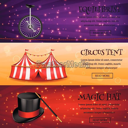 set of three horizontal circus banners