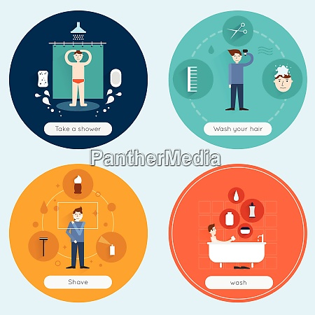 hygiene flat icons set with taking