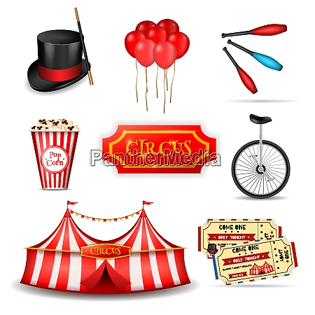circus set of realistic 3d icons