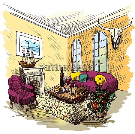 living room interior sketch colored background