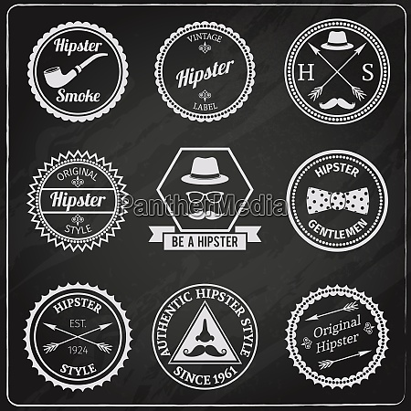 hipster vintage chalkboard labels set with