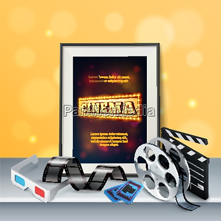 cinema background with 3d glasses film