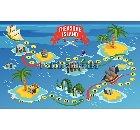 pirates board game isometric map on