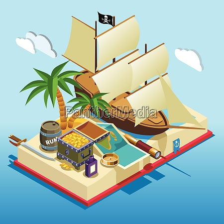 pirate elements on open book isometric
