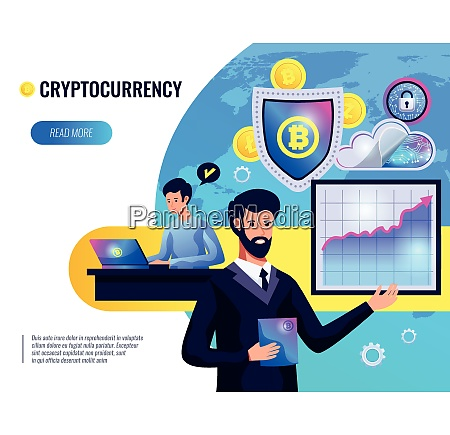 cryptocurrency vector illustration of people involved