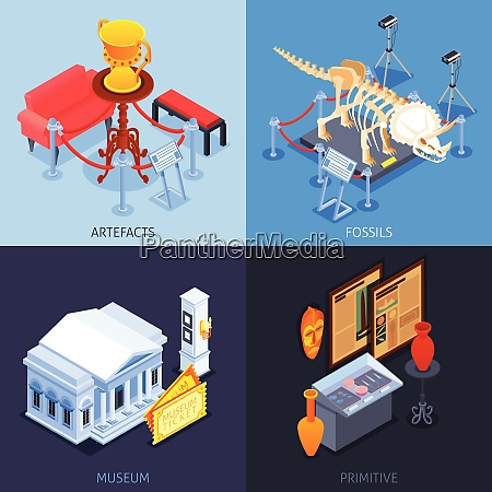 museum isometric 2x2 design concept with