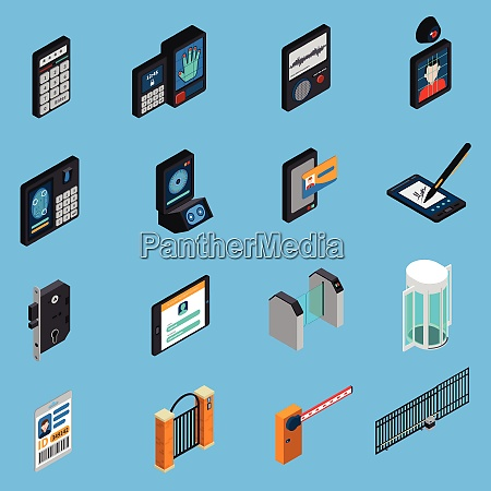 access identification isometric icons id card