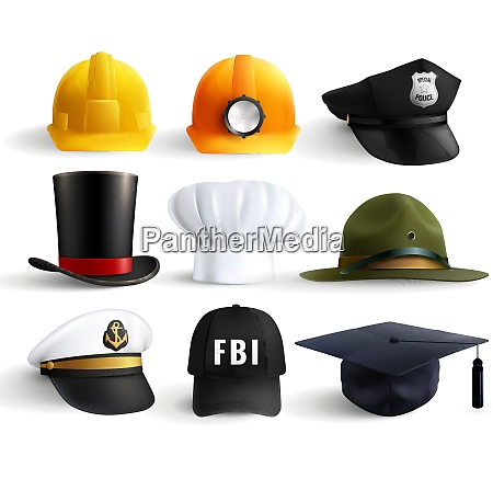 different professions hats set with magistr