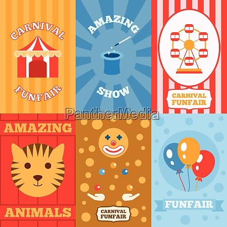 amusement park mini poster set with