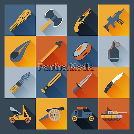 weapon icons flat set with