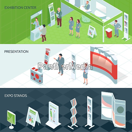exhibition center isometric banners with expo