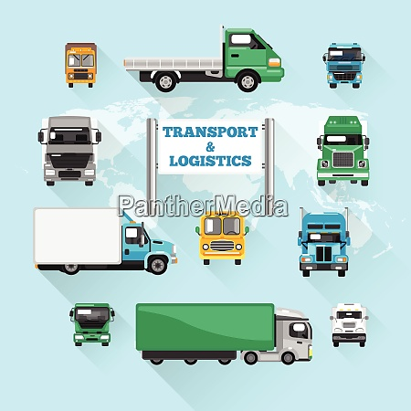 trucks transport and logistics delivery icons