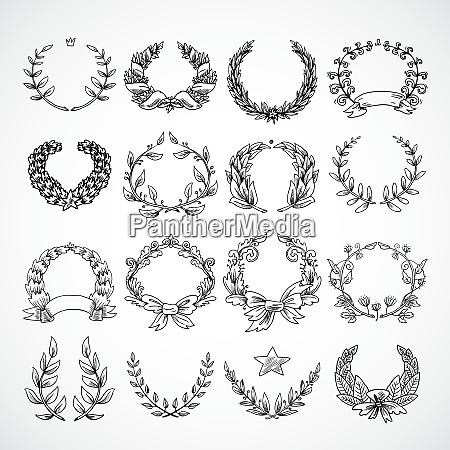 laurel wreath heraldic decorative icons set