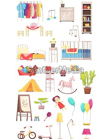 children room interior elements set rack
