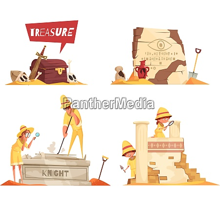 archeology design concept with treasure board