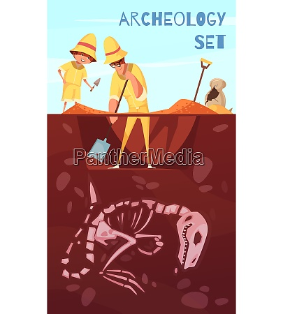 archeology excavation background scientists with work