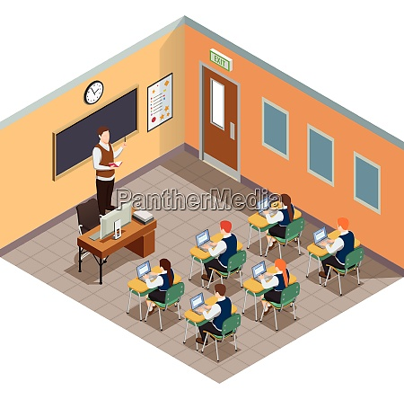 high school isometric people composition with