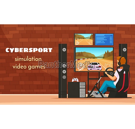 cybersport cartoon young man character composition