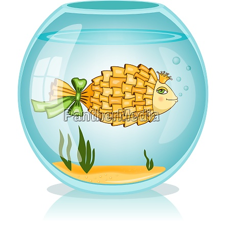 goldfish swiming in the bowl vector