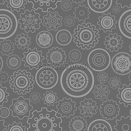 dark seamless gear wheels pattern background
