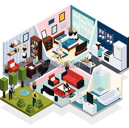 home staff performing routine work indoor