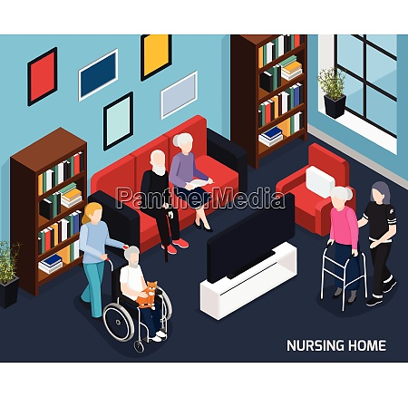 nursing home isometric composition with working