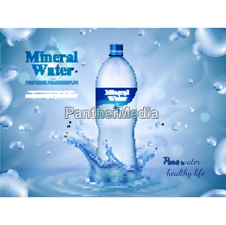 mineral water advertising composition with bottled