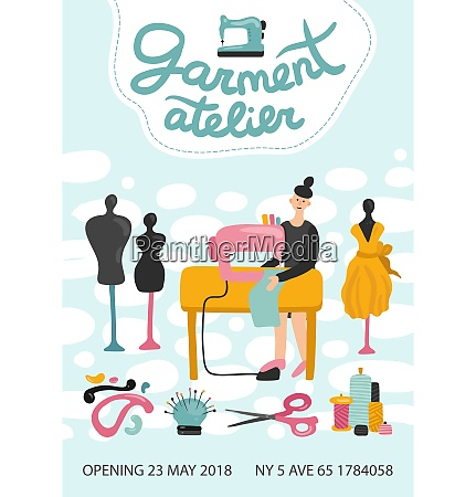 garment atelier advertising poster with address