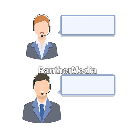 call center agents with blank text