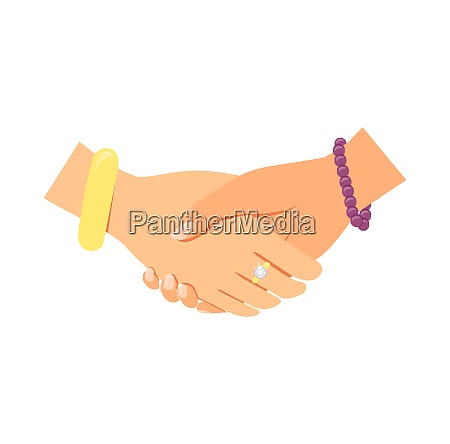 business women handshake icon isolated vector
