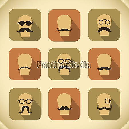 icons set of hipster mustaches and