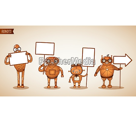 icons of intelligent machines holding blank