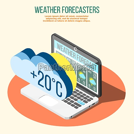 weather forecasters isometric composition on orange