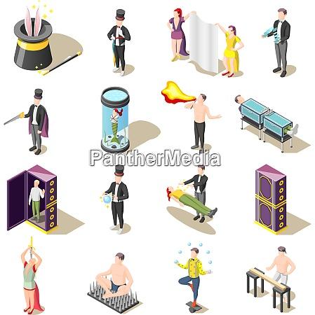 magic show isometric icons with levitation