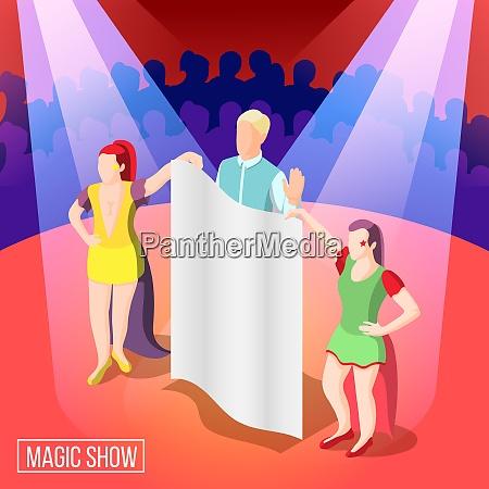 magic show isometric background illusionist behind